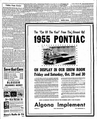 The Algona Upper Des Moines from Algona, Iowa on October 26, 1954 · Page 23