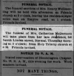Catherine Killian McDermott, sp. of Patrick, funeral notice September 1901