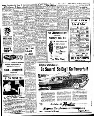 The Algona Upper Des Moines from Algona, Iowa on February 10, 1955 · Page 15