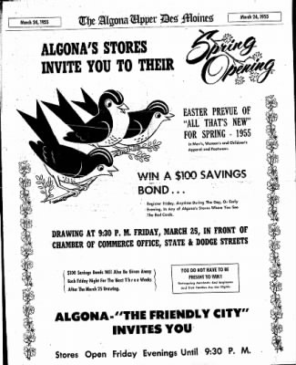 The Algona Upper Des Moines from Algona, Iowa on March 24, 1955 · Page 15