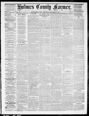 Holmes County Farmer from Millersburg, Ohio on December 28, 1865 · Page 1