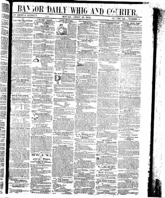 Bangor Daily Whig and Courier from Bangor, Maine on August 18, 1845 · Page 1