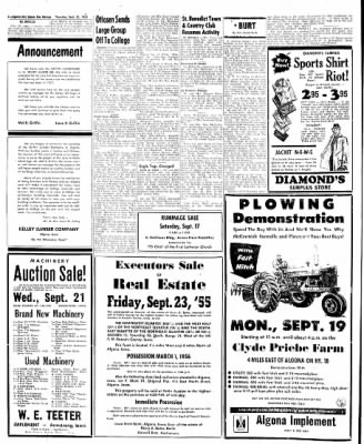 The Algona Upper Des Moines from Algona, Iowa on September 15, 1955 · Page 10