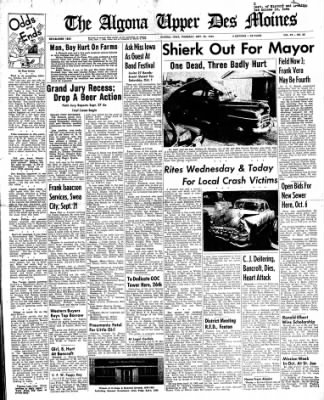 The Algona Upper Des Moines from Algona, Iowa on September 22, 1955 · Page 1