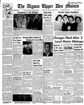 The Algona Upper Des Moines from Algona, Iowa on October 20, 1955 · Page 1