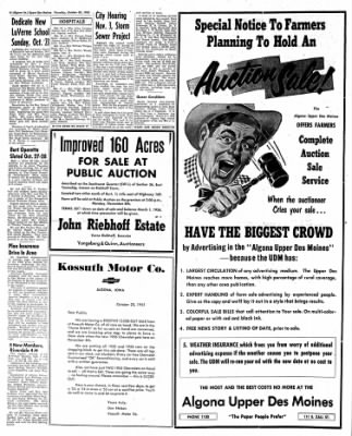 The Algona Upper Des Moines from Algona, Iowa on October 20, 1955 · Page 6