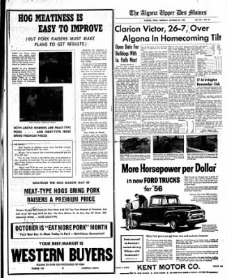 The Algona Upper Des Moines from Algona, Iowa on October 20, 1955 · Page 23