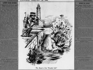 Political cartoon about the sinking of the USS Maine published the day after the explosion