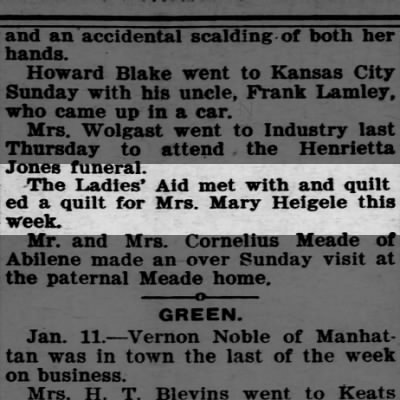 Quilt 13Jan1921 Clay Center Times