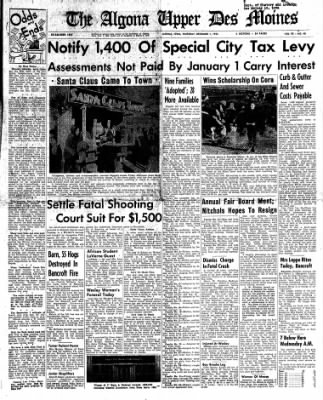 The Algona Upper Des Moines from Algona, Iowa on December 1, 1955 · Page 1