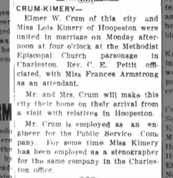 Elmer W Crum and Lois Kimery united in marriage