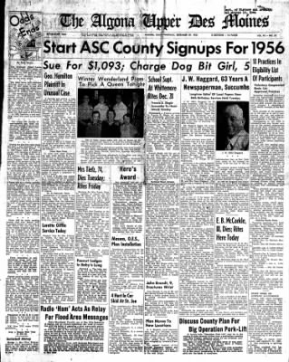 The Algona Upper Des Moines from Algona, Iowa on December 29, 1955 · Page 1