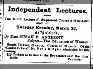 1857 ad for a lecture by Susan B. Anthony on the education of women