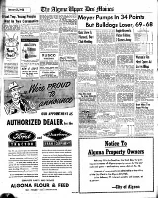 The Algona Upper Des Moines from Algona, Iowa on January 31, 1956 · Page 7
