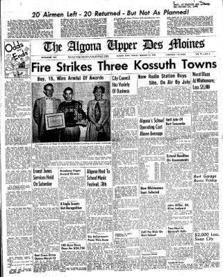 The Algona Upper Des Moines from Algona, Iowa on February 21, 1956 · Page 1