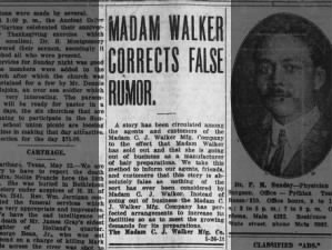 Madam C.J. Walker's company corrects going-out-of-business rumor, 1919