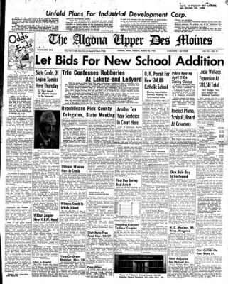 The Algona Upper Des Moines from Algona, Iowa on March 20, 1956 · Page 1