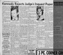 Inquest judge disputes elements of Kennedy's Chappaquiddick account