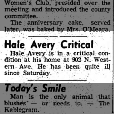 """Hale Avery Critical,"" Mexico (Missouri) Ledger, 3 May 1954, p. 1, col. 1. - Hole Avery Critical • Hale Avery is in a..."