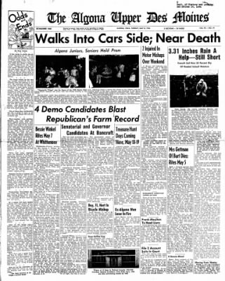 The Algona Upper Des Moines from Algona, Iowa on May 8, 1956 · Page 1