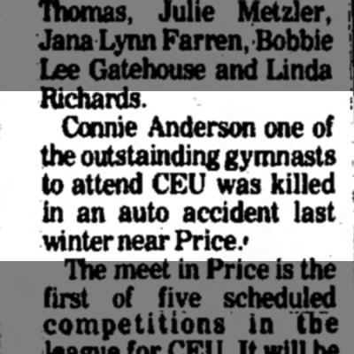 Not a great day for the Anderson's - Richards. Connie Anderson one of the...