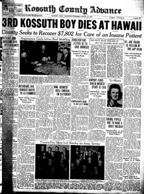 Kossuth County Advance from Algona, Iowa on March 12, 1942 · Page 1