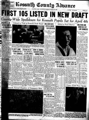 Kossuth County Advance from Algona, Iowa on March 19, 1942 · Page 1