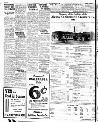 Kossuth County Advance from Algona, Iowa on January 30, 1945 · Page 2