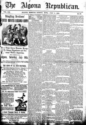 The Algona Republican from Algona, Iowa on July 2, 1890 · Page 1