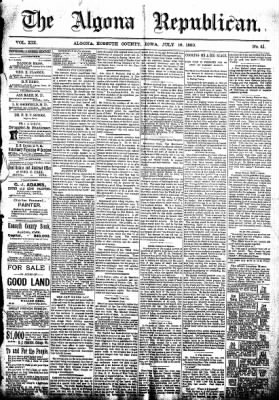 The Algona Republican from Algona, Iowa on July 16, 1890 · Page 1
