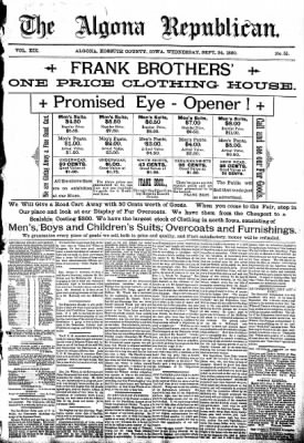 The Algona Republican from Algona, Iowa on September 24, 1890 · Page 1