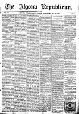The Algona Republican from Algona, Iowa on October 22, 1890 · Page 1