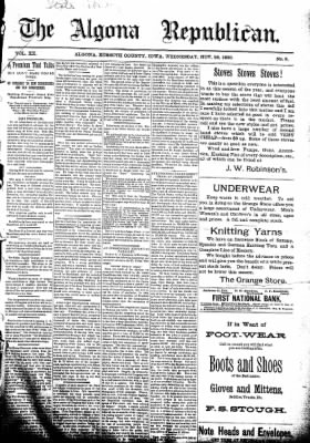 The Algona Republican from Algona, Iowa on November 26, 1890 · Page 1