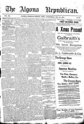 The Algona Republican from Algona, Iowa on December 24, 1890 · Page 1