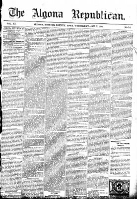 The Algona Republican from Algona, Iowa on January 7, 1891 · Page 1