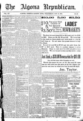 The Algona Republican from Algona, Iowa on January 14, 1891 · Page 1