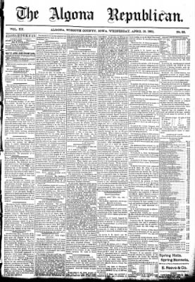 The Algona Republican from Algona, Iowa on April 15, 1891 · Page 1