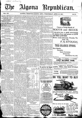 The Algona Republican from Algona, Iowa on April 29, 1891 · Page 1