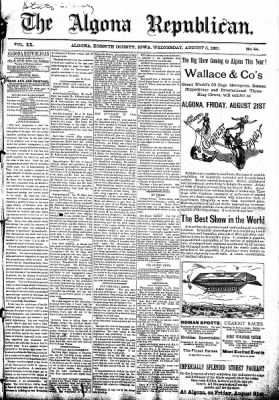 The Algona Republican from Algona, Iowa on August 5, 1891 · Page 1