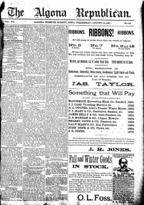 The Algona Republican from Algona, Iowa on August 19, 1891 · Page 1