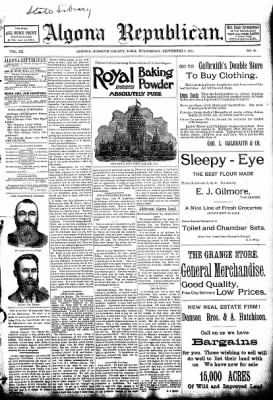 The Algona Republican from Algona, Iowa on September 9, 1891 · Page 1
