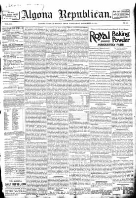 The Algona Republican from Algona, Iowa on September 16, 1891 · Page 1