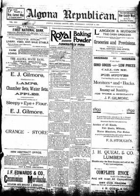 The Algona Republican from Algona, Iowa on January 6, 1892 · Page 1