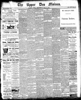 The Algona Upper Des Moines from Algona, Iowa on July 30, 1890 · Page 1