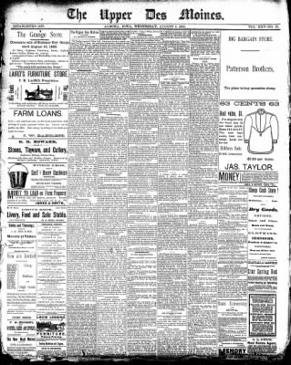 The Algona Upper Des Moines from Algona, Iowa on August 6, 1890 · Page 1