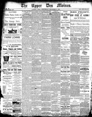 The Algona Upper Des Moines from Algona, Iowa on September 17, 1890 · Page 1