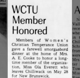 Honored-members of Women's Christian Temperance Union gave a farewell