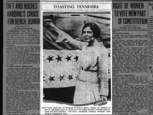 Alice Paul, suffrage leader, toasts suffrage victory after ratification of 19th Amendment