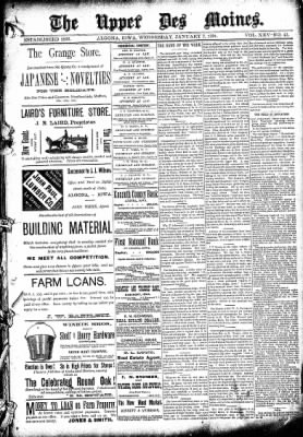 The Algona Upper Des Moines from Algona, Iowa on January 7, 1891 · Page 1