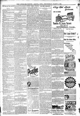 The Algona Upper Des Moines from Algona, Iowa on March 4, 1891 · Page 8